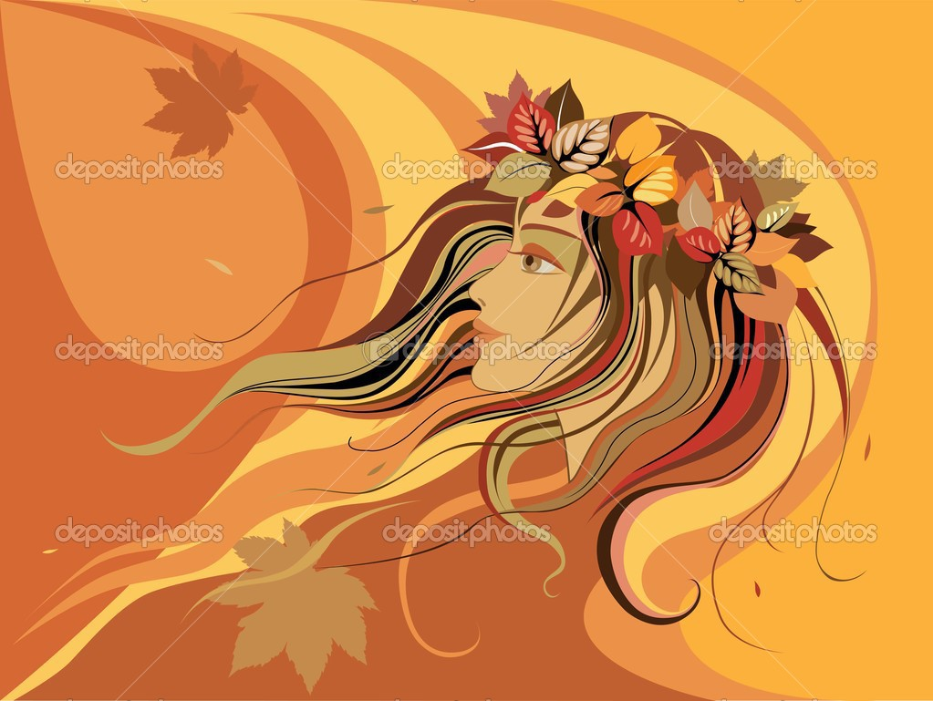 Abstract girl in wreath from autumn leaves — Stock Vector #3640673