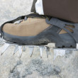 Boot with crampons — Stock Photo