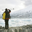 Explorer in a glacier — Stock Photo