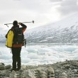 Stock Photo: Explorer in glacier