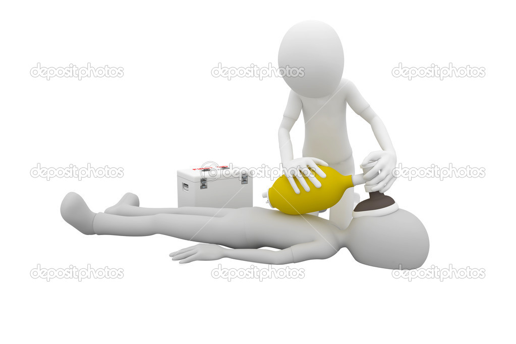 3d man doing artificial respiration first aid — Foto Stock #3687667