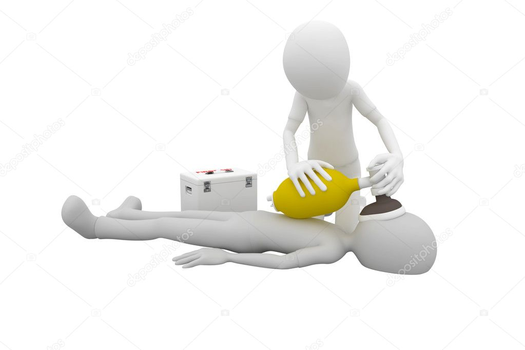 3d man doing artificial respiration first aid — 图库照片 #3687667