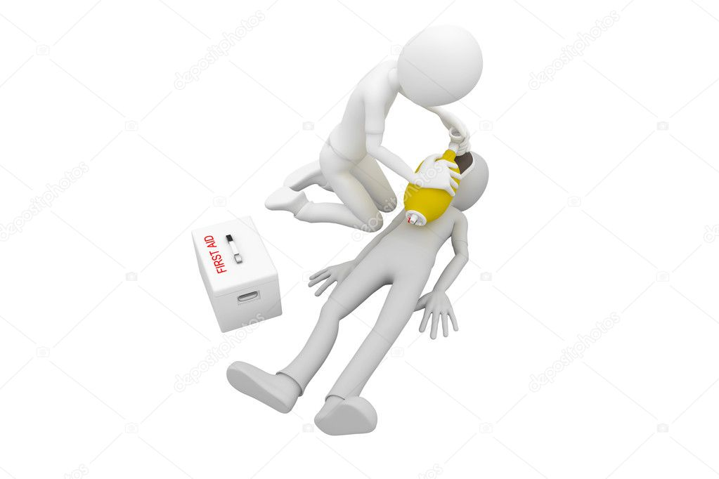 3d man doing artificial respiration first aid  Stock Photo #3687669