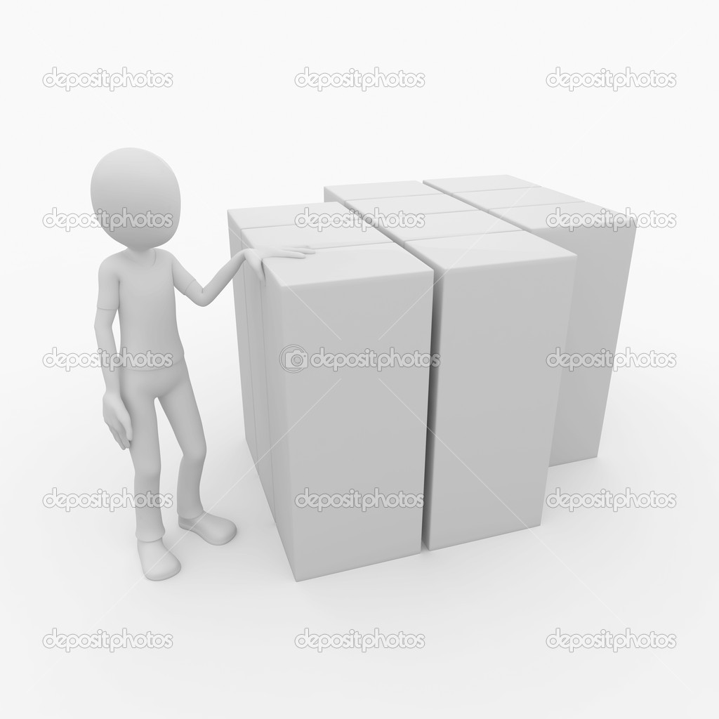3d man with blank product boxes — Stock Photo #3789296