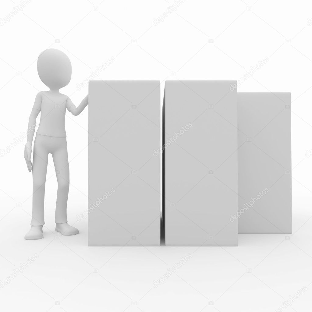 3d man with blank product boxes  Stock Photo #3789299