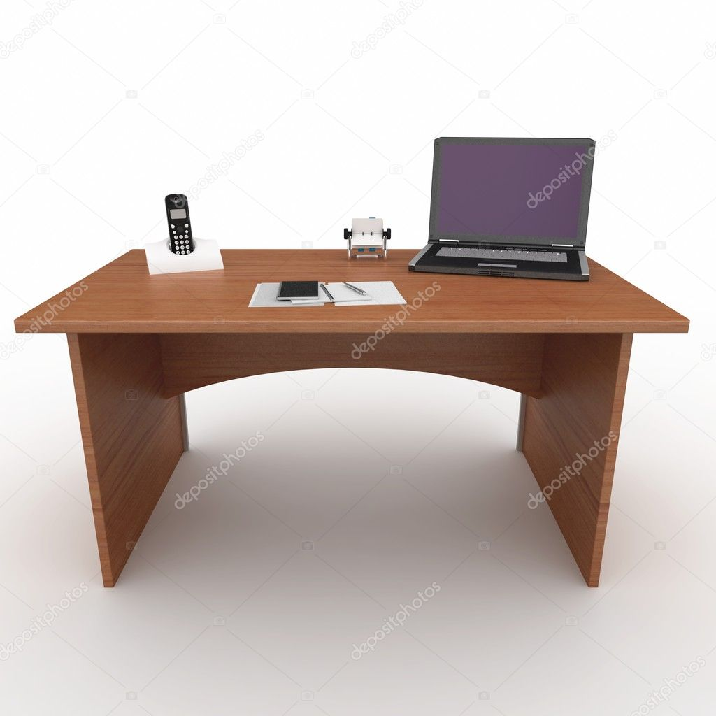 3d office desk with laptop isolated on white — Stock Photo #3847151