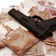 Stock Photo: Drugs vice gun and money