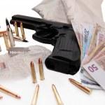 Drugs and money kill — Stock Photo
