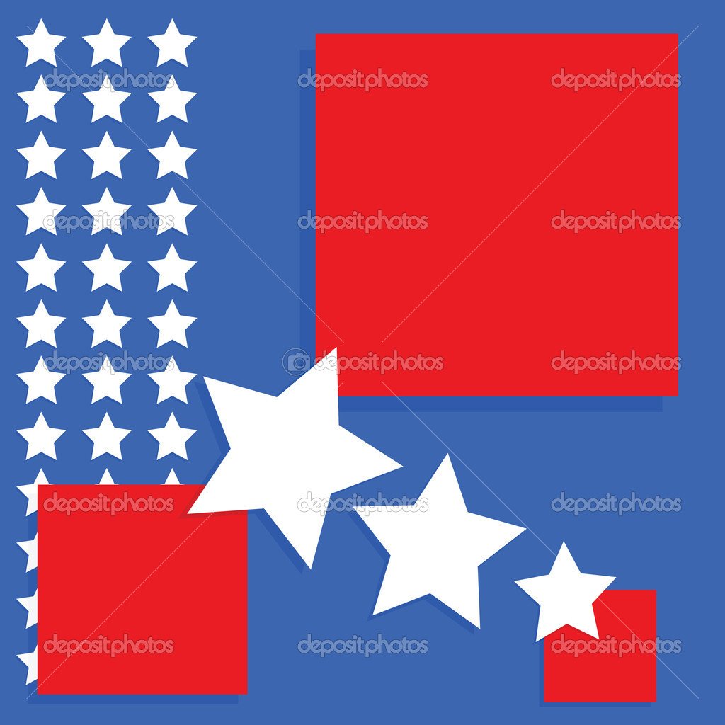 Background image with an United States theme - blue and red squares with white stars — Stock Vector #3711515