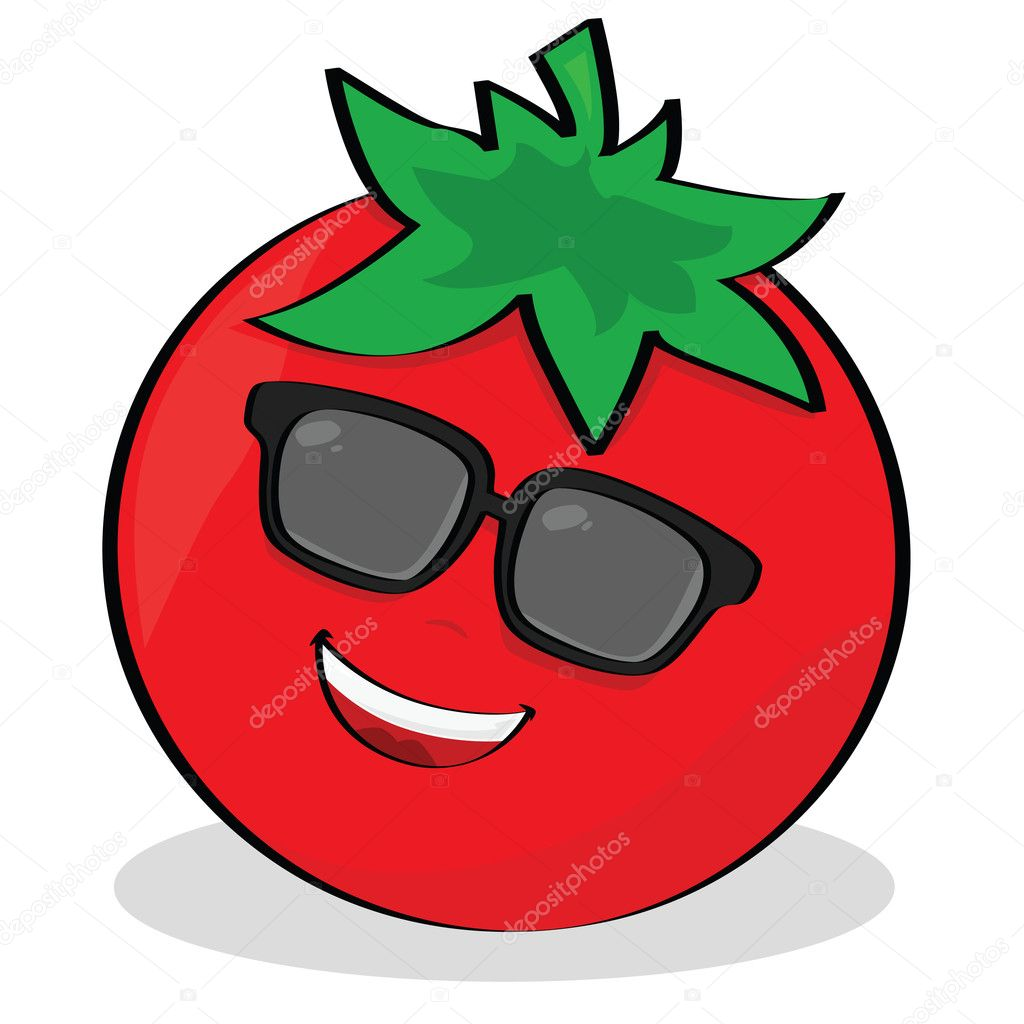 Cartoon illustration of a cool tomato wearing sunglasses  — Stock Vector #3712071