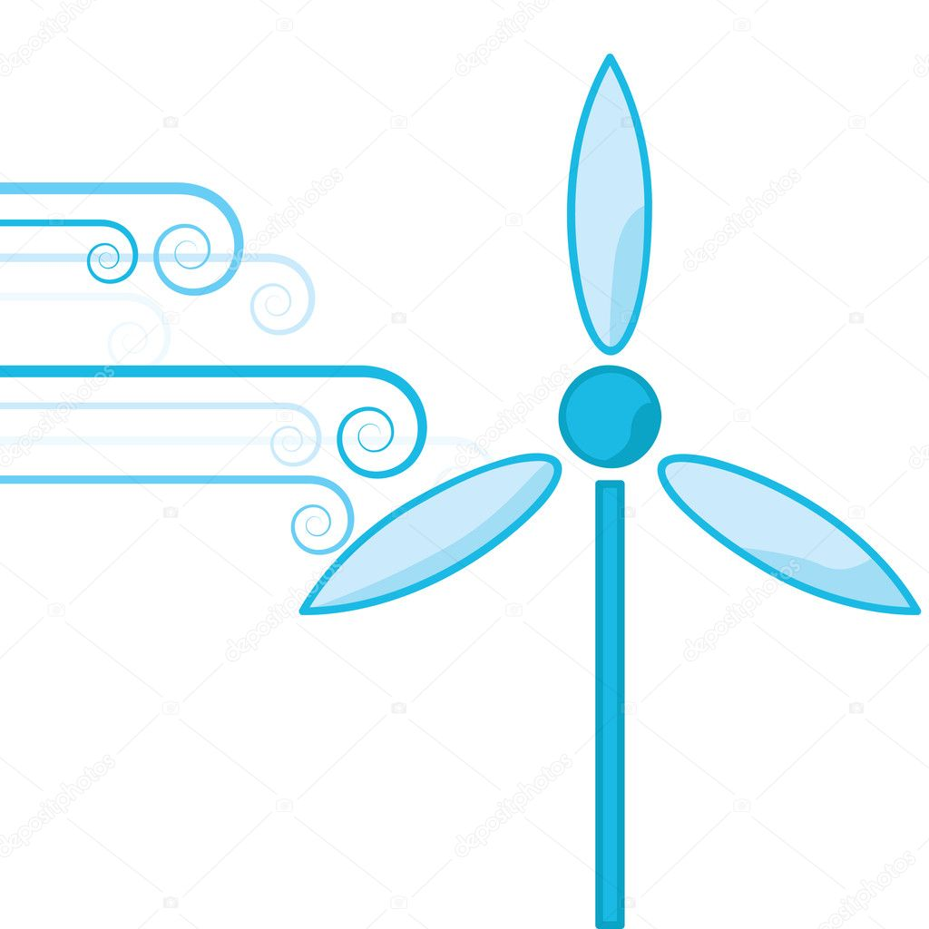 Concept illustration showing bursts of wind powering a wind turbine — Stock Vector #3715124