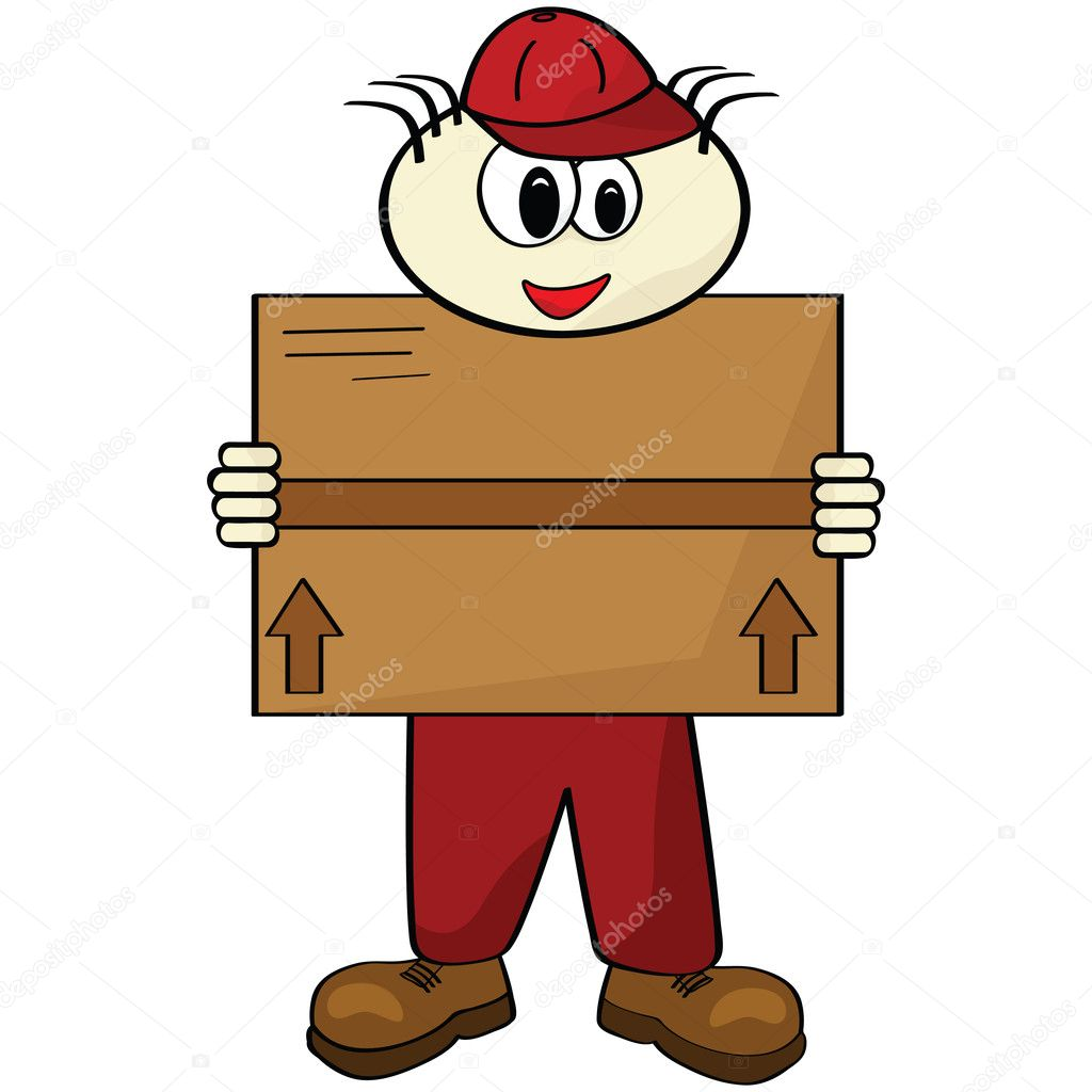 Cartoon illustration of a delivery man carrying a box  Stock Vector #3715126