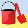 Bucket and shovel - Stockvectorbeeld