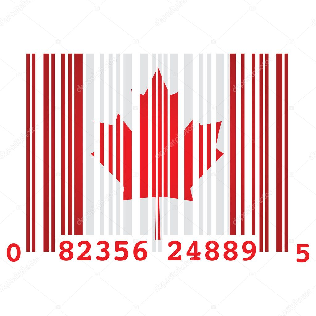 Concept illustration of a barcode and the flag of Canada, symbolizing over consumption — Stock Vector #3757703