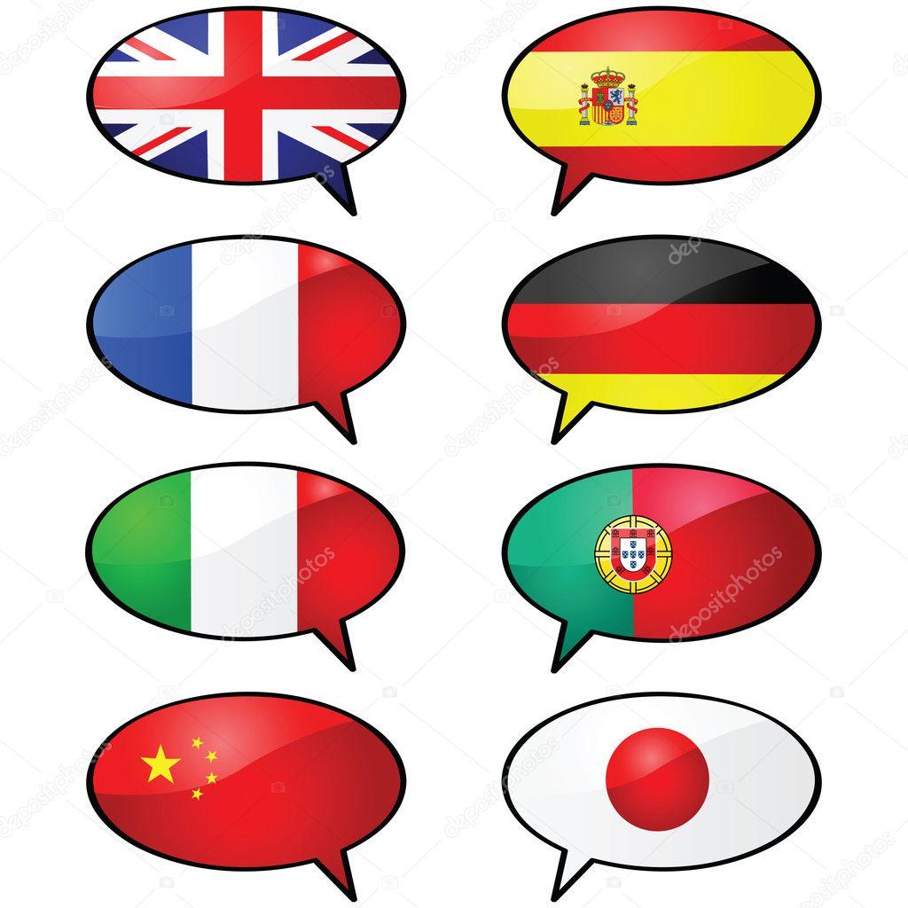 光泽的几个卡通插图将气球,跟不同的标志,代表不同的语言 — 矢量图片