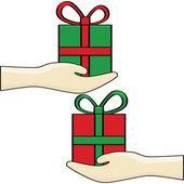 Gift exchange — Stock Vector