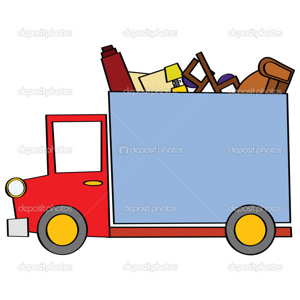 Cartoon illustration of a moving truck carrying some furniture — Stock Vector #3794976