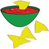 Tortilla chipsy se salsou — Stock vektor
