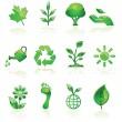 Green environmental icons — Stock Vector