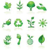 Green environmental icons — Stock Vector