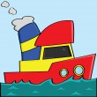 Cartoon boat - Stock Vector