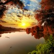 Sunset summer scene: bungee over river water on beauty forest ba - Stock Photo