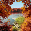 Autumn scene: trees over the river and broken old bridge - Stock Photo