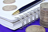 Notebook, pen and money — Stockfoto