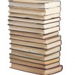 Books in a stack on white — Foto Stock