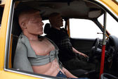 Dummies in the car — Stock Photo
