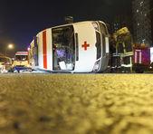 Ambulance overturned — Stock Photo
