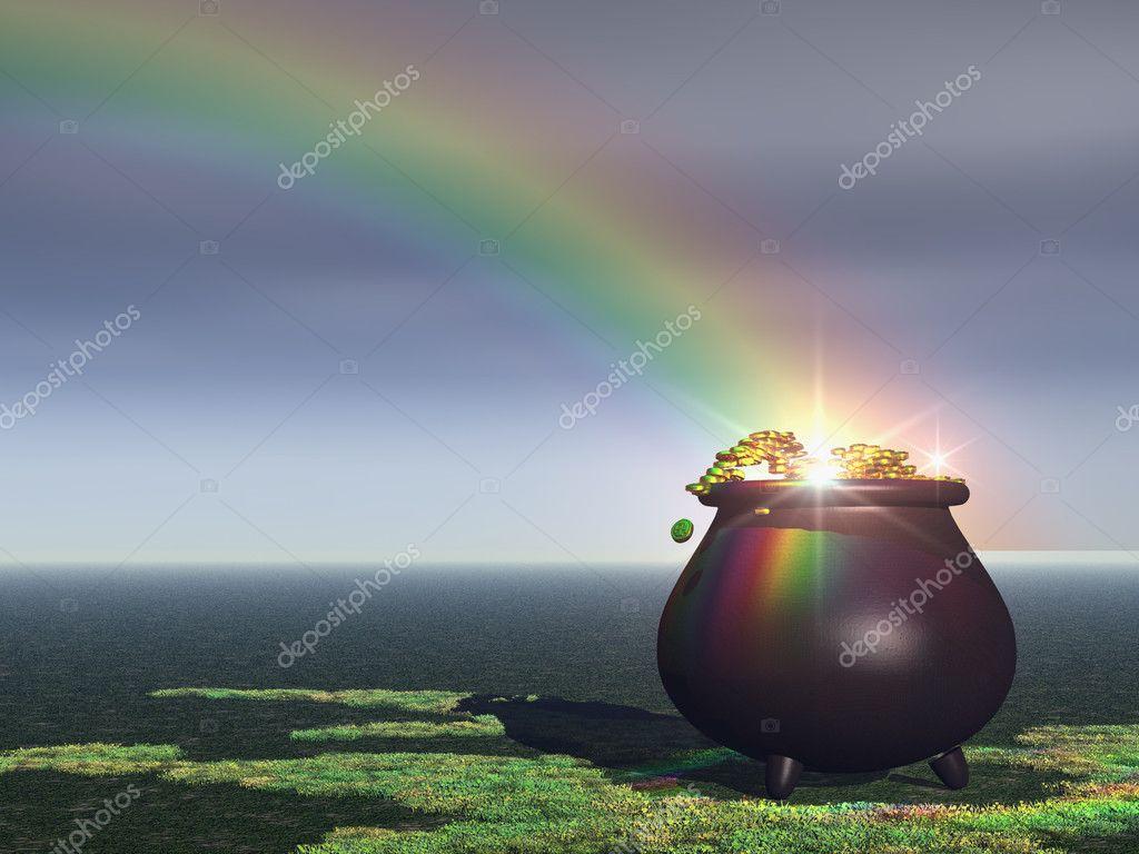 Rainbow Pot of Gold Wallpaper a Pot of Gold Under a Rainbow