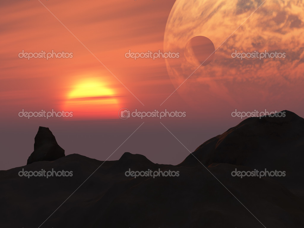 A fantasy landscape of dark hills, sun, red sky and alien orbiting planet — Stock Photo #3705702
