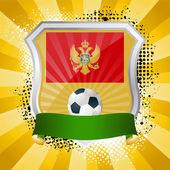 モンテネグロの国旗と盾します。 — ストックベクタ