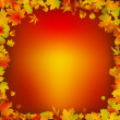 Autumn leaves frame background — Stock Vector