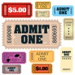 Set of ticket admit one vector - Imagen vectorial