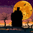 Scary Halloween Dark House. - Stock Vector