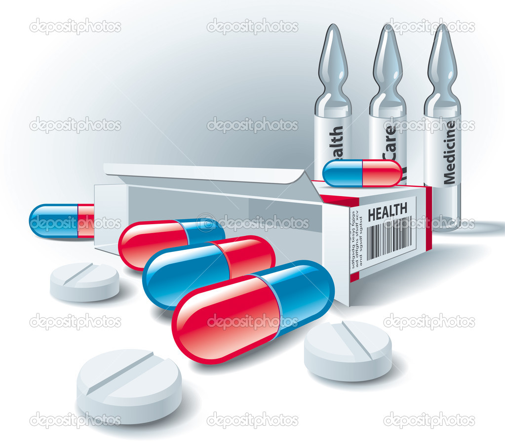 Pills, tablets, box and ampoules on white background. Vector Illustration.  — Stock Vector #3737751
