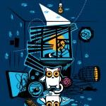 Постер, плакат: Bandit Cat Vandal murderer and perjurer Vector Illustration