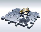 Jigsaw puzzle set — Stock Vector