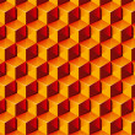 Warm colors transparent Boxes 3D pattern. Vector Illustration. — Stock Vector #3794016