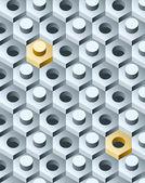 Bolts and screws 3D pattern. Vector Illustration. — Vetor de Stock
