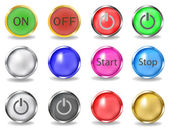 A set of buttons on and off. — Stock Vector