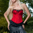 Blonde in red corset - Stok fotoğraf