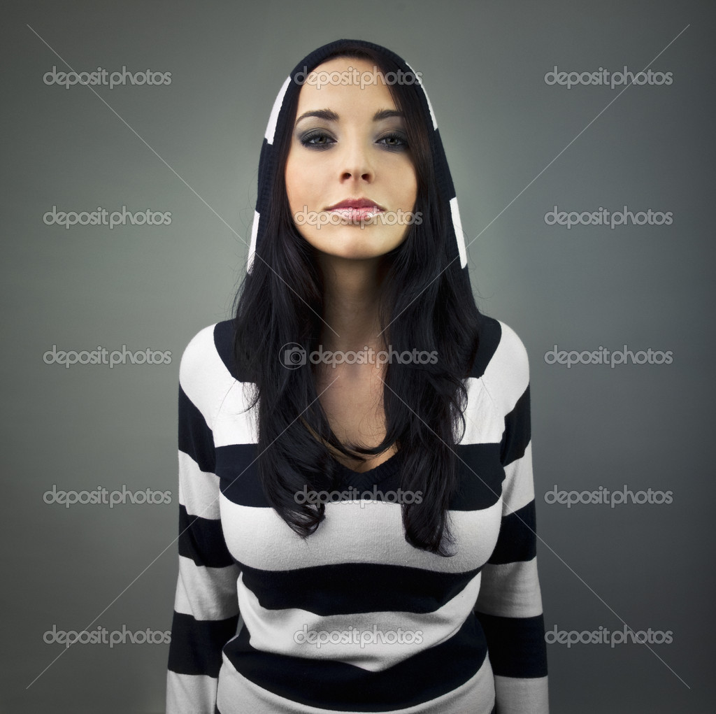 Girl in stripes woolly — Stock Photo #3713876
