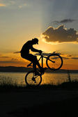 Jump into the sunset — Stock Photo