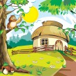 Small house under blue sky. Vector illustration in cartoon style. - Imagen vectorial