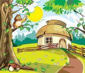 Casa pequeña bajo el cielo azul. ilustración vectorial en estilo de dibujos animados. — Vector de stock