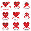 Vector pattern red couple of hearts — 图库照片