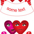 Vector pattern red couple of hearts — Stock Photo #3762377